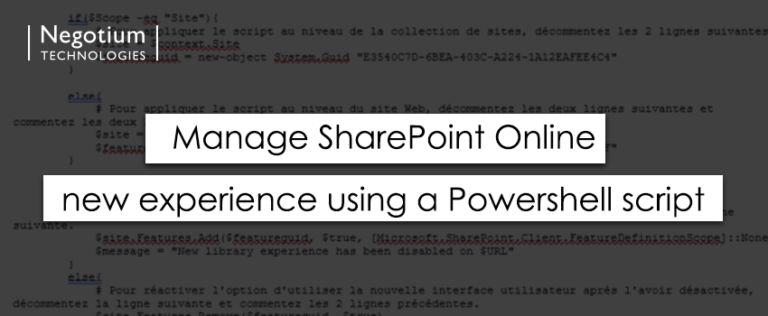 Manage SharePoint Online new experience using a Powershell script